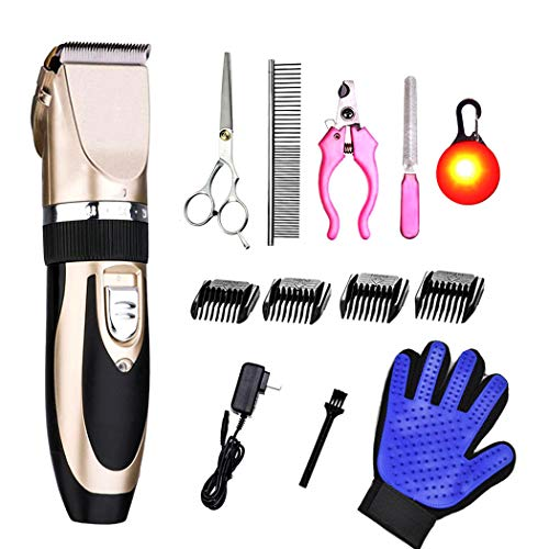 Pet Dog and Cat Grooming Clippers Kit Low Noise Cordless Pet Grooming Clippers Tools with Comb Guides Scissors Nail Kits for Horse Cat Dog Hair Clippers Shaver Kit