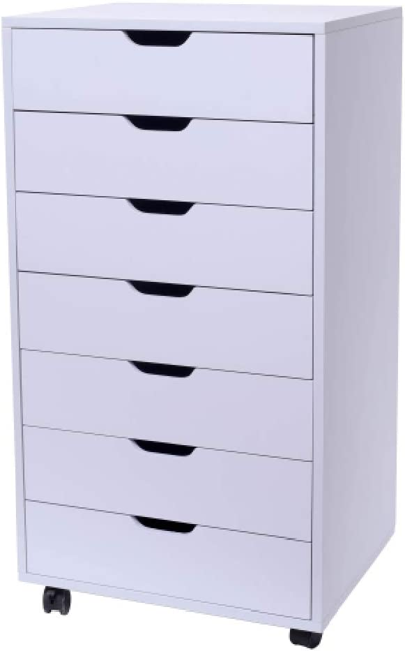 Mobile Lateral Filing Cabinet - Wheels Rolling Filing Cabinet, Printer Stand with Open Storage Shelves for Office and Home (7-Drawer White)