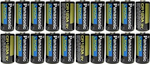 Panasonic CR123A Lithium 3V Photo Lithium Batteries, 0.67'' Dia x 1.36'' H (17.0 mm x 34.5 mm), black, Gold, Blue (Pack of 20) by Panasonic
