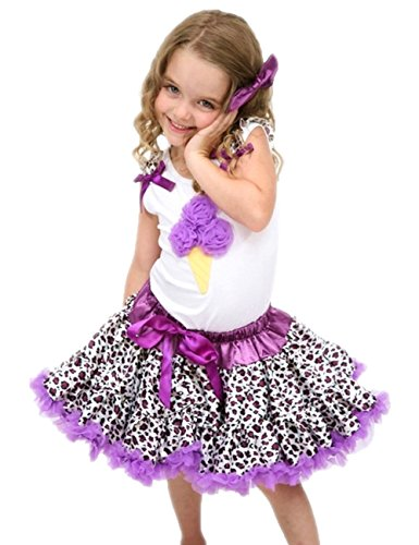 Purple Ice Cream White Top Leopard Pettiskirt Girl Tutu Cloth Outfit Set 1-8y (3-4t)