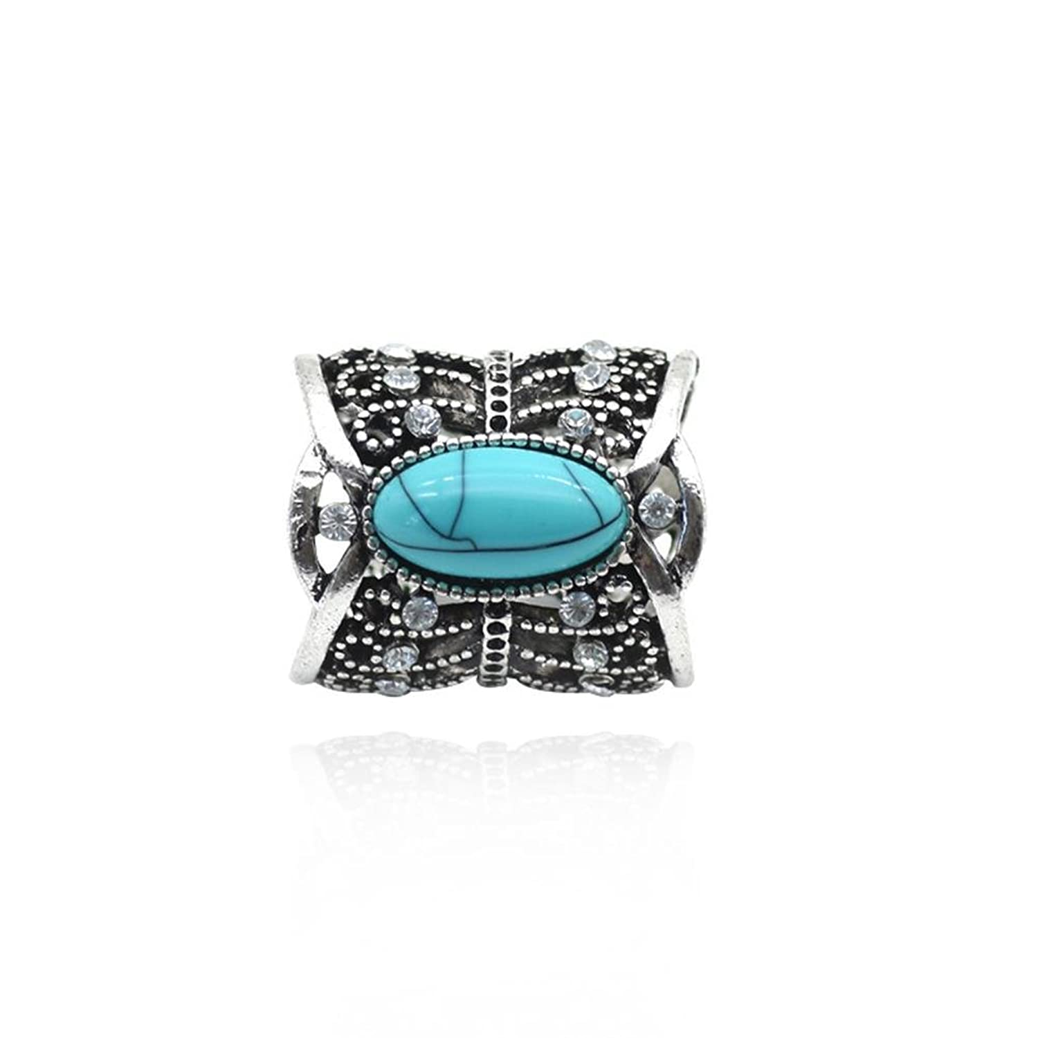 YinMai Vintage Turquoise Decorated Scarf Buckle Ring for Women