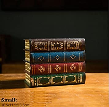 Set of 2 Large + Small Chris.W Wooden Antique Book-Like Bookends with Hidden Storage Box Classic Decorative Library Book Ends