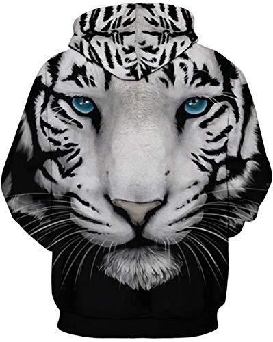 Sweat De Noël Capuche Homme Thème Imprimé Tigre Oliphee Blanc 3d fUgnq