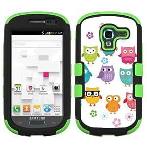 One Tough Shield ? 3-Layer Hybrid phone Case (Black/Green) for Samsung Galaxy Exhibit T599 - (Happy Owl)