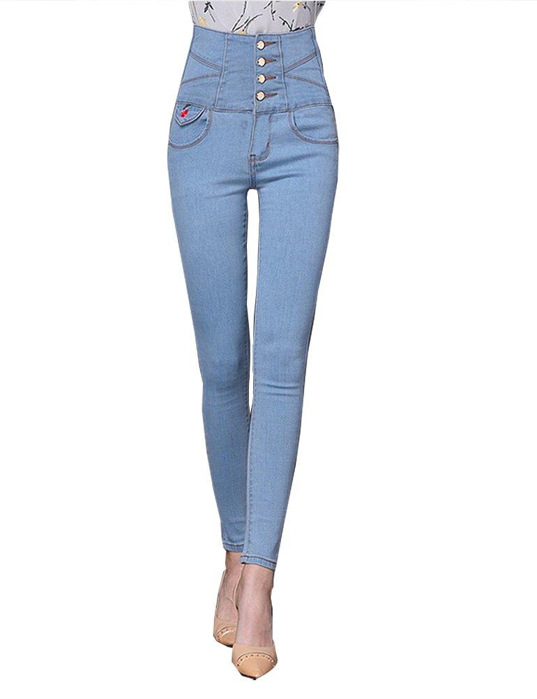 Ylingjun Womens High Waist Embroidered Stretch Fashion Jeggings Skinny Denim Long Jeans Pencil Pants (M, Light Blue) by Ylingjun