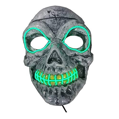 Clearance Tuscom LED Skeleton Cold Light Illuminating Painted Scary EL Wire Christmas Hat Mask,for Halloween Easter Masquerade Party Costume,23x17cm Mask (Green)