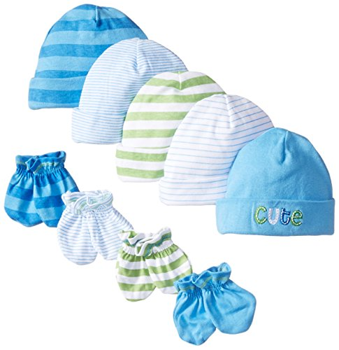 gerber-baby-boys-newborn-5-pack-caps-0-6-months-and-4-pack-mitten-0-3-months-bundlecar-and-stripenew