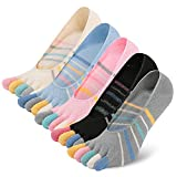 Toe Socks Low Cut No Show Cotton Running Five Fingers Socks With Silicone Heel for Womens Ladies