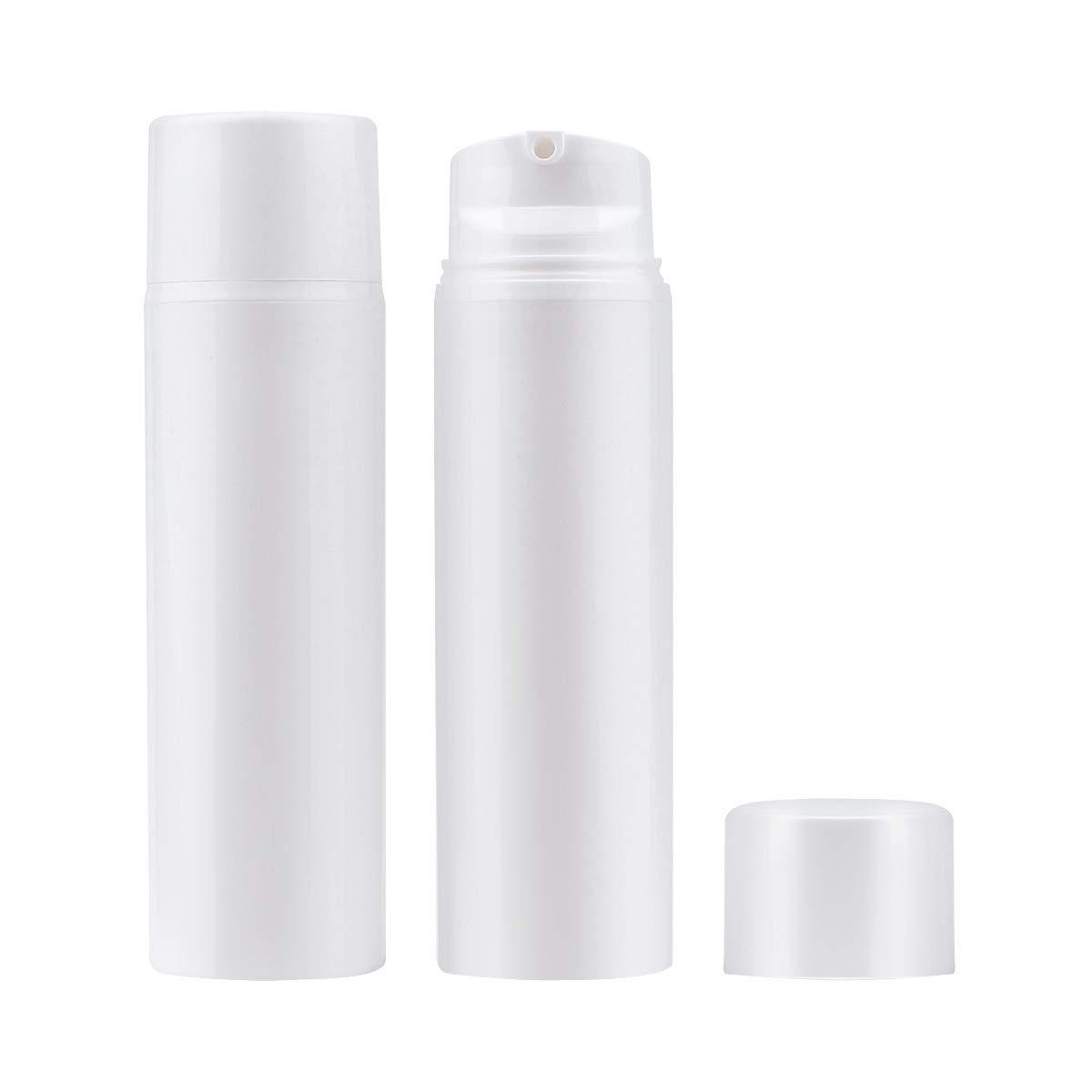 Yebeauty 120ml/4oz Plastic Disposable Airless Pump Vacuum Bottles 2pcs - Empty Bottles Lotion Dispenser Makeup Emulsion for Leak Proof Shockproof Travel