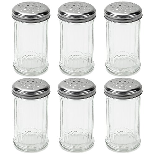 Server Cheese Grated (Set of 6 Spice & Cheese Shakers - 12 oz. Glass Server with Metal Lid for Parmesan and Mozzarella by Back of House Ltd.)