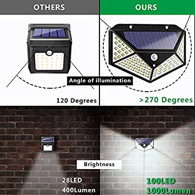 Solar Lights Outdoor, Solar Powered Motion Sensor Lights 100 LEDs Outdoor Waterproof Wall Light Night Light with 3 Modes with 270° Wide Angle for Garden, Patio Yard, Deck Garage, Fence