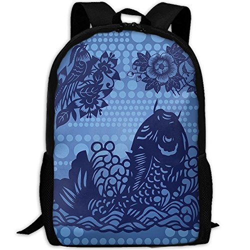 Fish Backpack Briefcase Laptop Travel Hiking School Bags Stylish Daypacks Shoulder Bag