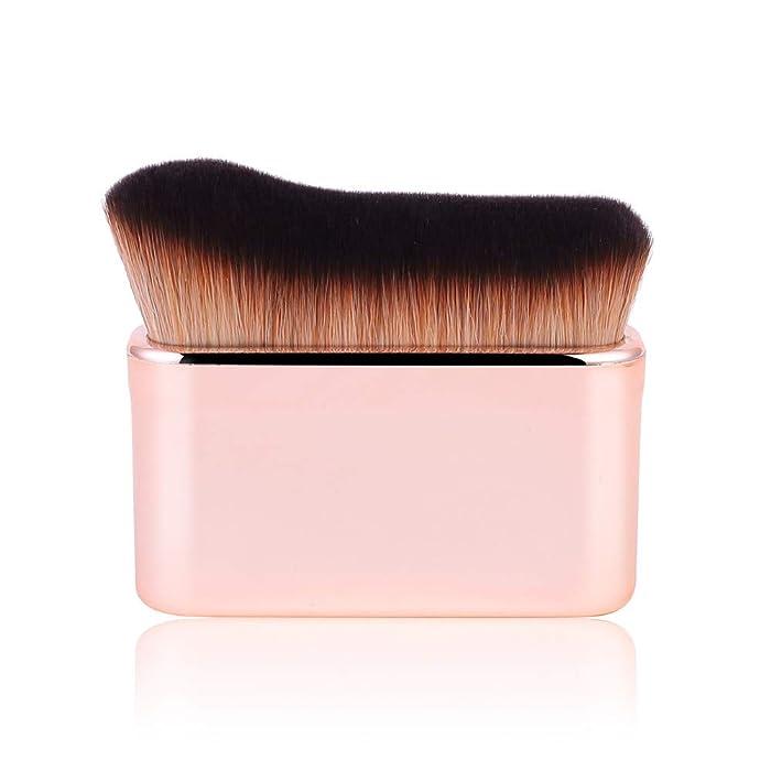 Professional Body Makeup Brush High Density Face Kabuki Brush for Luminizer Shimmer Glow Liquid Foundation Powder Cream Lotion Contour (Rose gold)