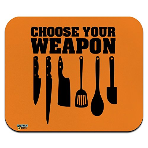 Choose Your Weapon Chef Baker Kitchen Tools Knife Spatula Low Profile Thin Mouse Pad Mousepad