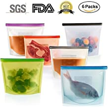 6 Packs Silicone Food Storage Bags - Reusable and Sealable, Leakproof Foodsaver Bags for Heating, Freezing, Microwaving and as Snack Bags by FreshEco