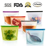 6 Packs Silicone Food Storage Bags - Reusable and Sealable,...