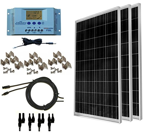 WindyNation 300 Watt (3pcs 100 Watt) 12V Solar Panel Off-Grid RV Boat Kit w/LCD P30L Solar Charge Controller + Solar Cable + MC4 Connectors + Mounting Brackets (Solar 130w Panel)