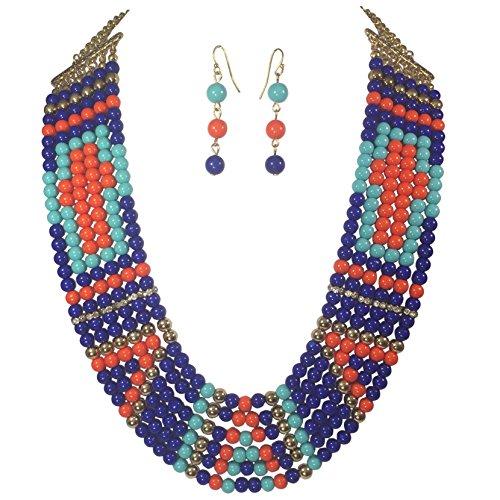 (Hidden Cross 6 Row Layered Beaded Necklace & Earrings Set (Royal Aqua Blue Orange))