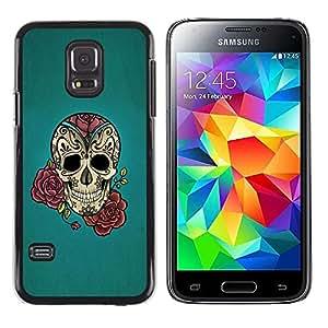LECELL--Funda protectora / Cubierta / Piel For Samsung Galaxy S5 Mini, SM-G800, NOT S5 REGULAR! -- Rose Ink Tattoo Blue Rock Roll Metal --