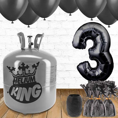 3rd Birthday Black Balloons and helium gas package