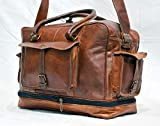 thehandicraftworld Real leather messenger flexible handmade luggage travel briefcase vintage bag