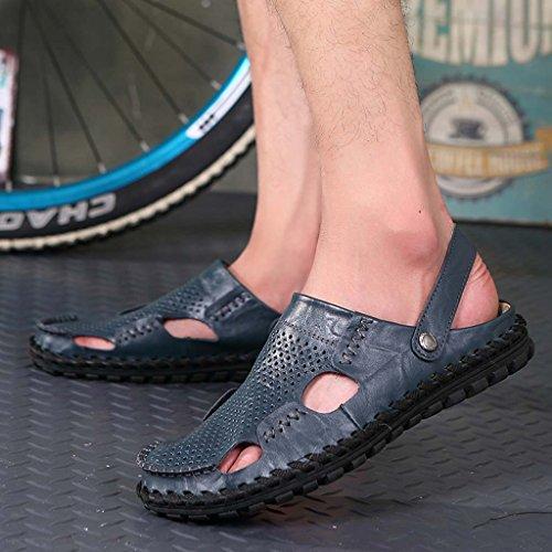 ZXCV Zapatos al aire libre Sandalias de cuero para hombres Azul