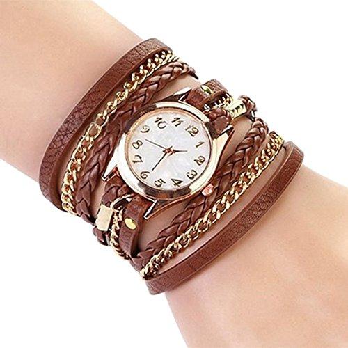 Women Weave Wrap Leather Bracelet Wrist Watch Brown - 4