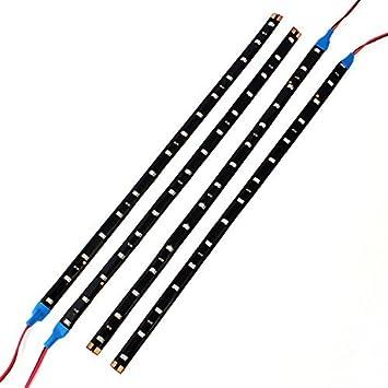 Neuftech 4 X 30CM 15 LED 12V Tira Luces Impermeable para Coche, Decoración de Interior y Exterior,Azul