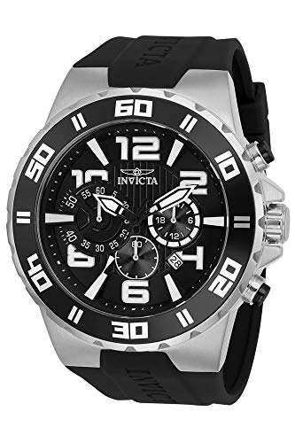 Invicta Men s Pro Diver Stainless Steel Quartz Watch with Polyurethane Strap, Black, 28 Model 24668