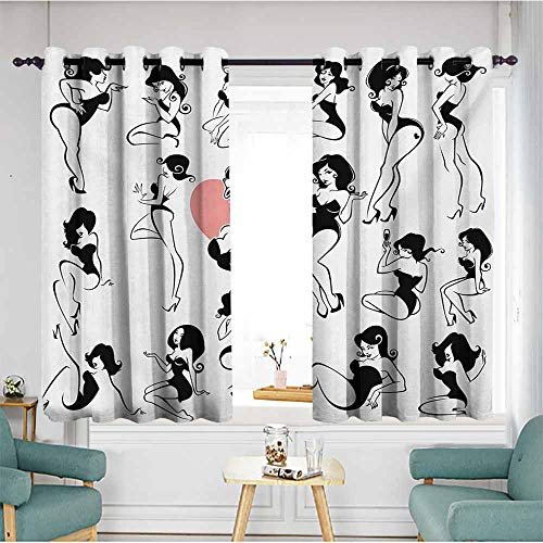 Window Blackout Curtains,Girls Famous Sexy Girl Model Posing with Full Body Features Heart Tattoo on Thigh Make Up,Energy Efficient, Room Darkening,W55x39L,Black White
