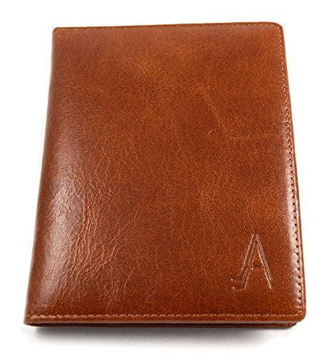 Leather Passport Holder Cover Case RFID Blocking Travel Wallet ()