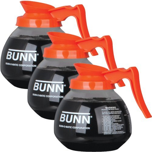 BUNN Glass Coffee Pot Decanter / Carafe - Set of 3 - Orange - Decaf - 12 Cup Capacity by MBW NW Brands