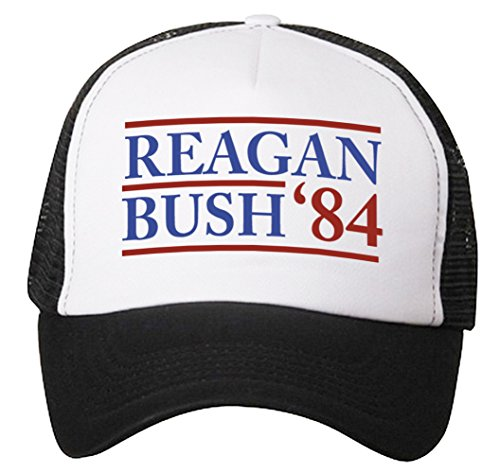 Reagan Bush 1984 Hat - Adjustable Mens Black - Political Conservative Republican Ronald