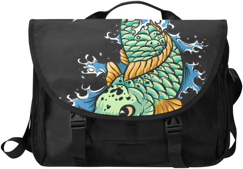 Men Briefcase Laptop Beautiful Red Yellow Fish Multi-Functional Crossbody Travel Bag Fit for 15 Inch Computer Notebook MacBook