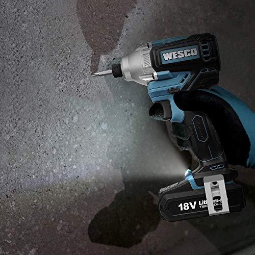 Bürstenloser Akku Schlagschrauber, WESCO 18V 2.0Ah Schlagbohrschrauber mit 20 Stück Bohrer-Bit, 180 Nm, 0-3600bpm, Bohrfutter Spannweite 6,35mm(1/4 Zoll), 2- Gänge, LED-Licht, Akku und Ladegerät