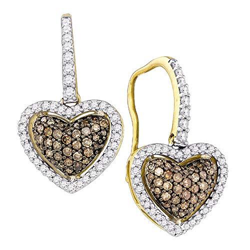 Jewel Tie Solid 10k Yellow Gold Chocolate Brown Diamond Heart Dangle Earrings (5/8 Cttw.)