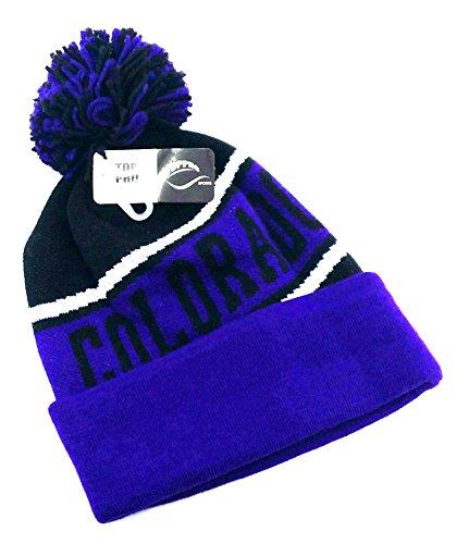 Legend of the Game Colorado Top Pro New Beanie Cuffed Pom Rockies Colors Black Purple Era Hat Knit Cap