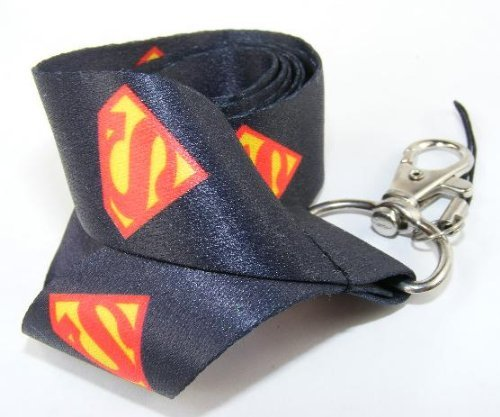 1 X Superman Black Lanyard for ID Badge Holder, MP3, Keychain, Cellphone, and ()