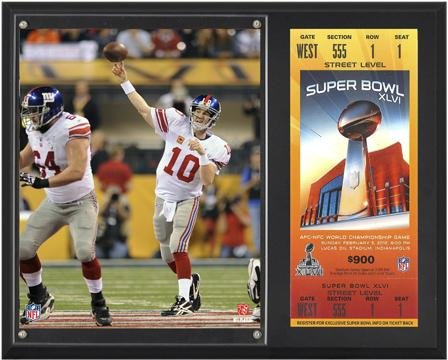 New York Giants Player - Eli Manning New York Giants Super Bowl XLVI 12x15 Sublimated Plaque with Replica Ticket - NFL Player Plaques and Collages