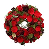 Northlight Unlit Red Wooden Roses and Berries Artificial Christmas Wreath, 10''