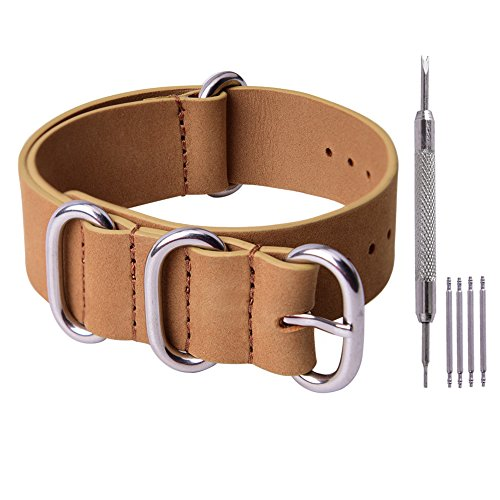 Rich Brown Leather - Ritche 22mm Genuine Leather NATO Strap Rich Brown Replacement Watch Band for Men Women