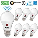 Sunco Lighting 6 Pack A19 Dusk to Dawn LED Light Bulb 9 Watt (60W EQ) 3000K Kelvin Warm White 800 LM, Indoor/Outdoor PIR/Motion Sensor Photocell Photosensor Auto ON/Off Security UL & Energy Star