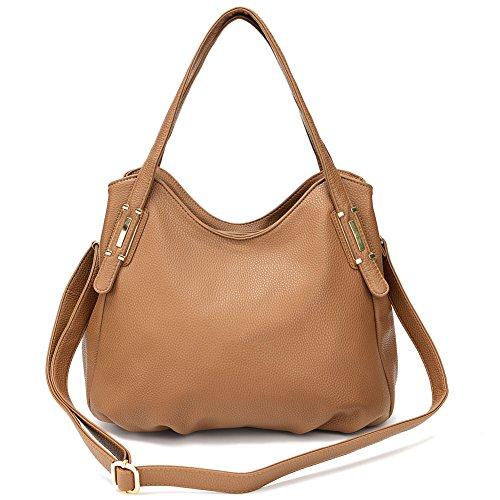 Genuine Leather Shoulder Bag - Genuine Leather Shoulder Bag Womens Purse and Handbags Crossbody Bag (Khaki)