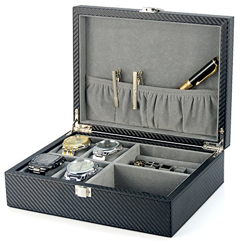 - Decorebay Executive Leather Watch, Cufflink Case, Ring Storage Organizer and Jewellery Box for Men (Crow)