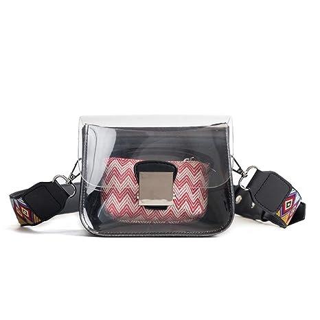 d9e97197fccf Amazon.com: Women Shoulder Bag Clear Transparent Crossbody Bag Black ...