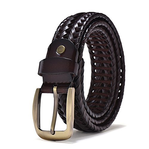 Coffee Woven - ECHAIN Men Braided Woven Genuine Leather Belt (Waist:31-33, Coffee)