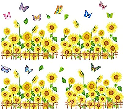 ALLDOLWEGE Tatuajes de pared elegante butterfly pequeño girasol ...