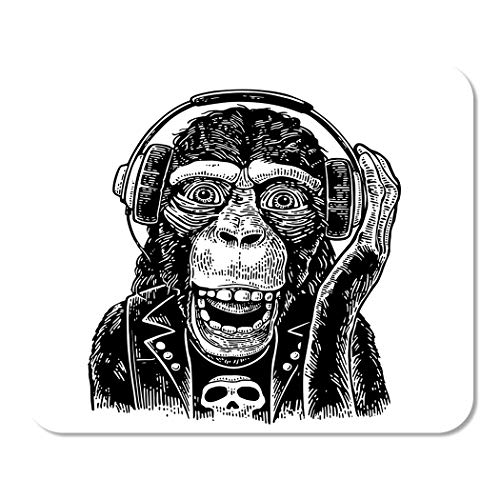 (Suike Mousepad Computer Notepad Office Monkey Rocker in Headphones and Dressed with Skull Vintage Black Engraving for White Home School Game Player Computer Worker 9.5x7.9 Inch )