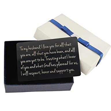 Mens Wallet Insert Engrave Card For Husband With Free Gift Box