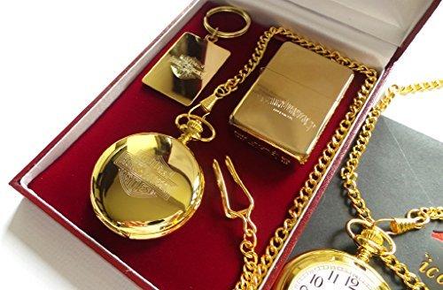 The British Gold Company 24K Gold Clad Harley Davidson Luxury Set Lighter Hunter Pocket Watch And Keyring